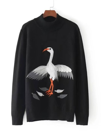 Crane Print Jumper Sweater