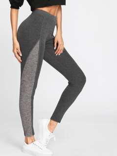 Mixed Media Marled Knit Leggings