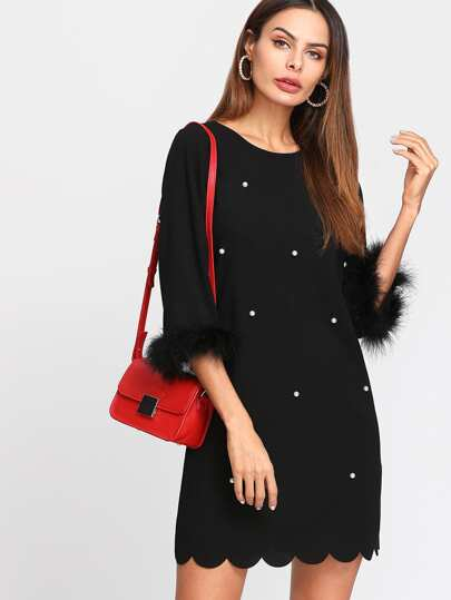 Faux Fur Cuff Pearl Beading Scallop Dress