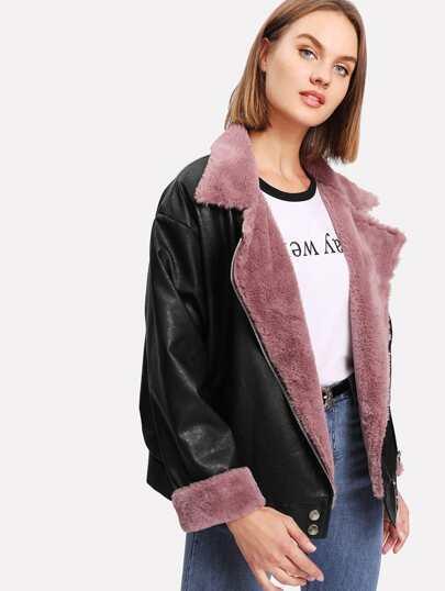 Contrast Faux Fur Biker Jacket