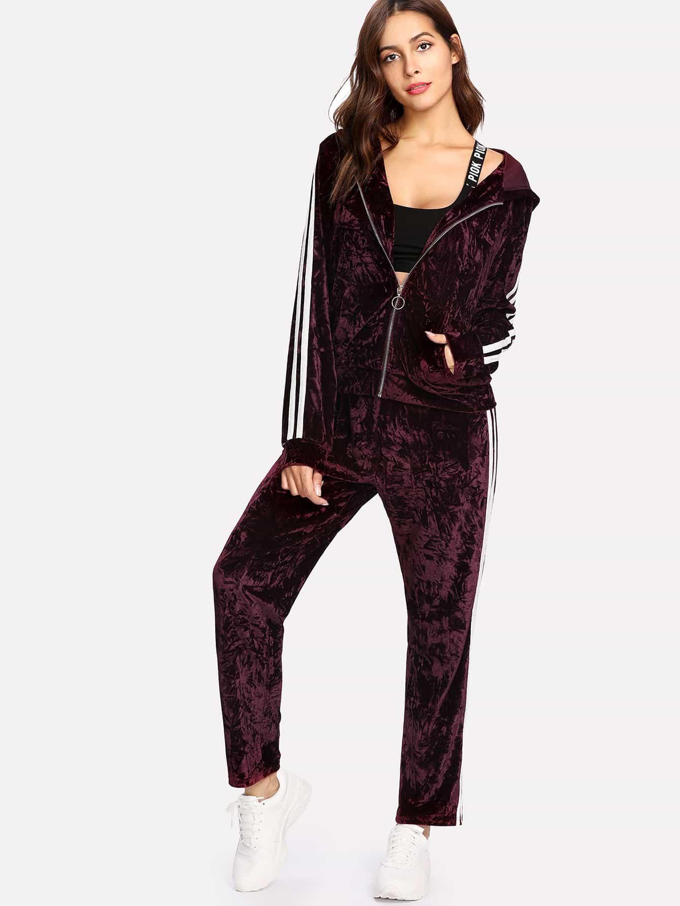 Striped Crushed Velvet Hoodie Jacket & Pants Set striped tape applique velvet pants