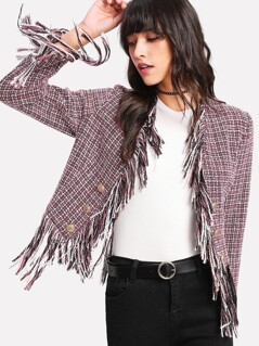 Gold Button Fringe Trim Tweed Blazer