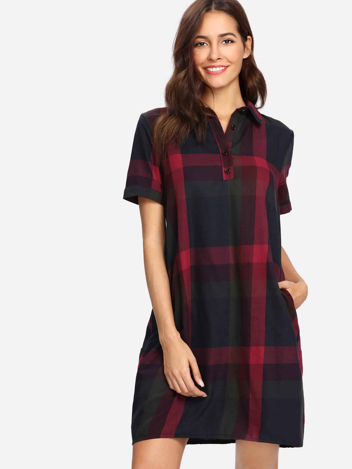 Tartan Plaid Shirt Dress цена и фото