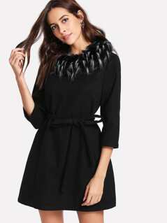 Detachable Faux Fur Collar Belted Dress