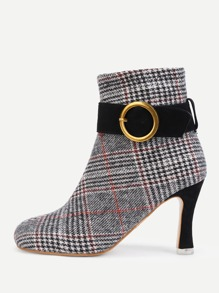 Gingham Print Side Zipper Ankle Boots