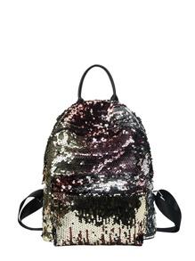 Zip Closure Sequin Backpack