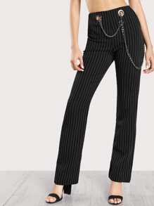 Chained Accent Dress Pants BLACK WHITE