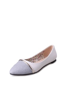 Glitter Pointed Toe PU Flats