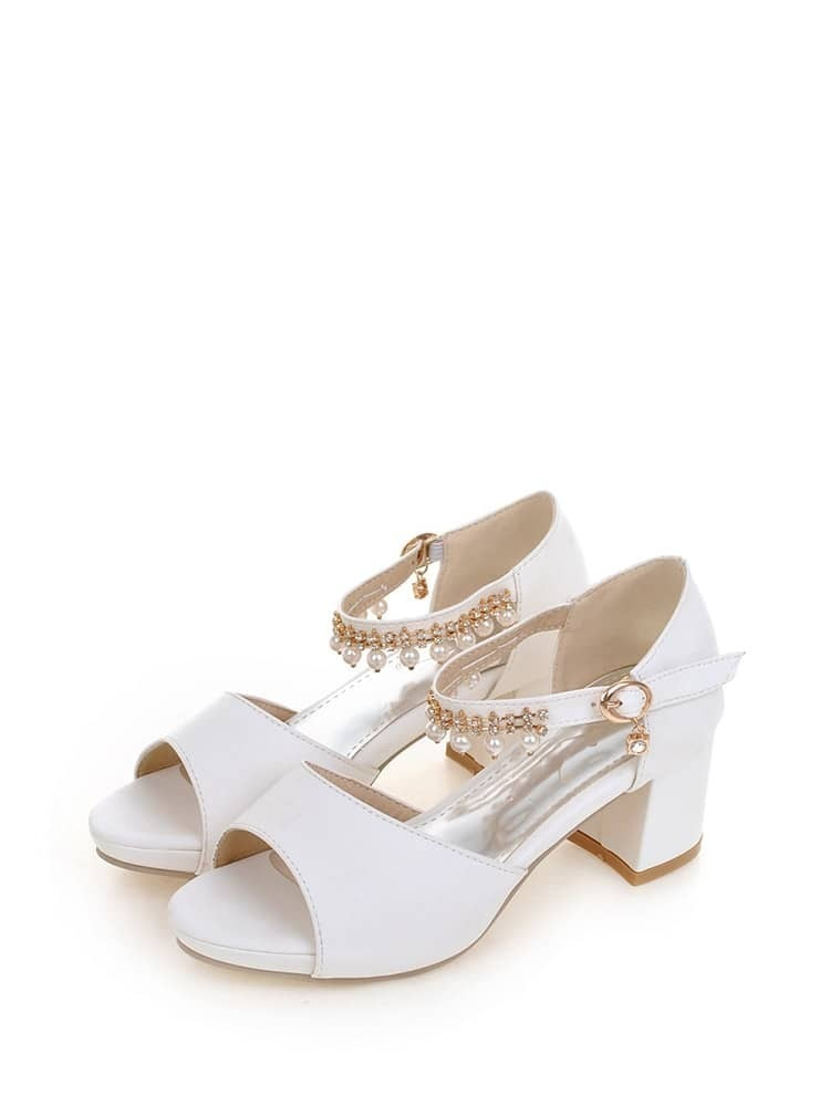 Faux Pearl Ankle Strap Heels