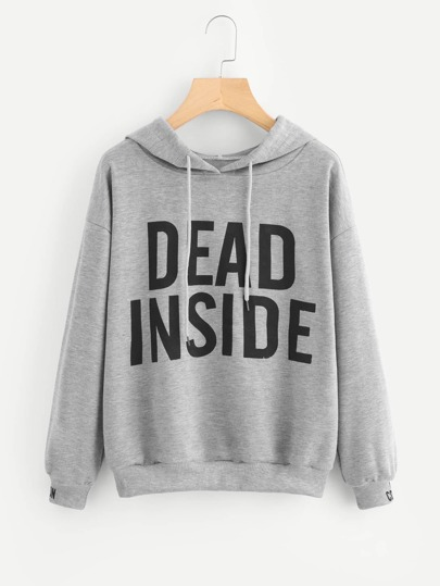 Drop Shoulder Slogan Print Hoodie