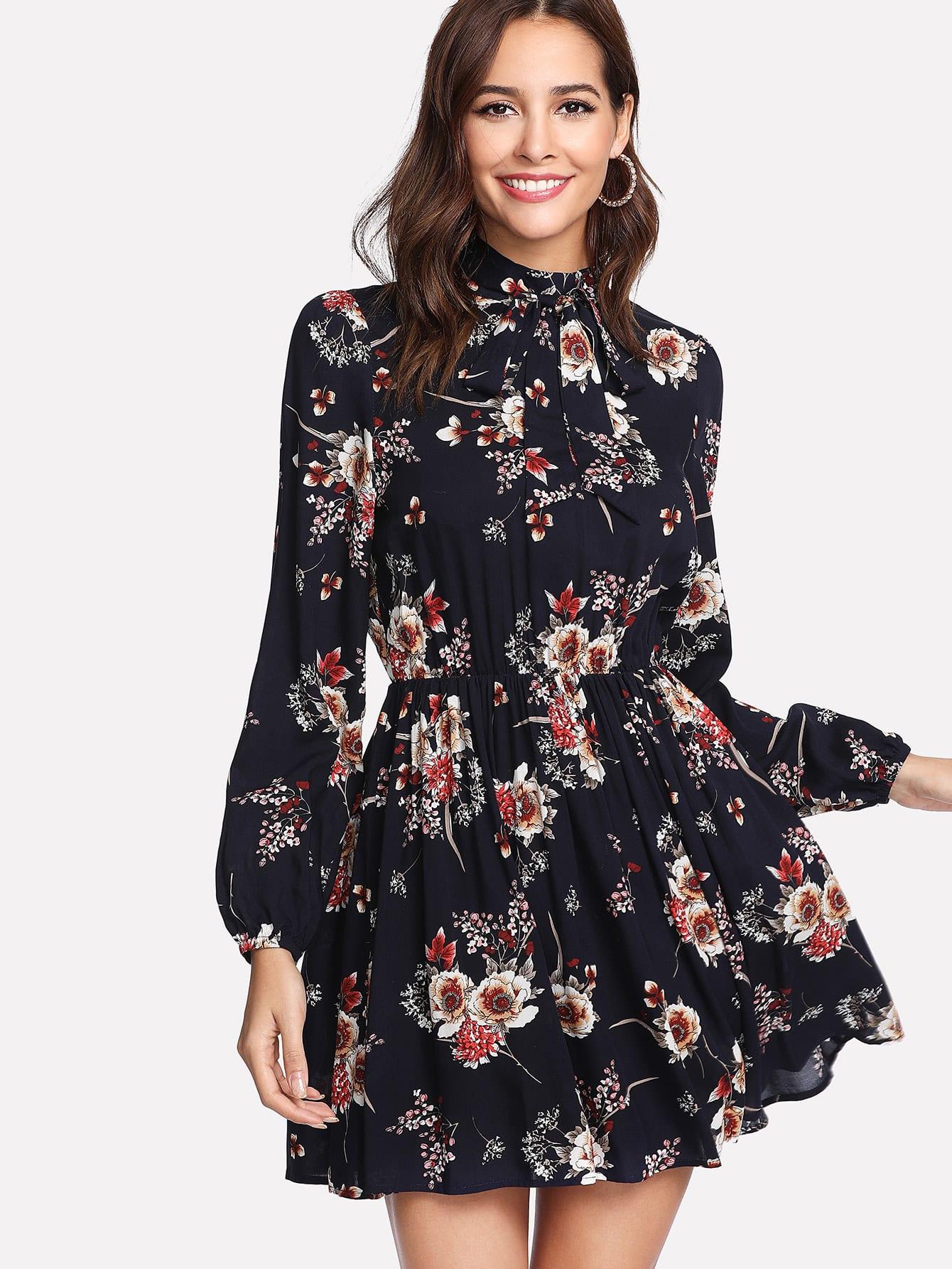 Купить Модное платье с бантом и цветочным принтом, Giulia, SheIn