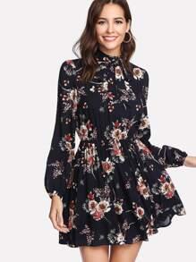 Tie Neck Flower Print Dress
