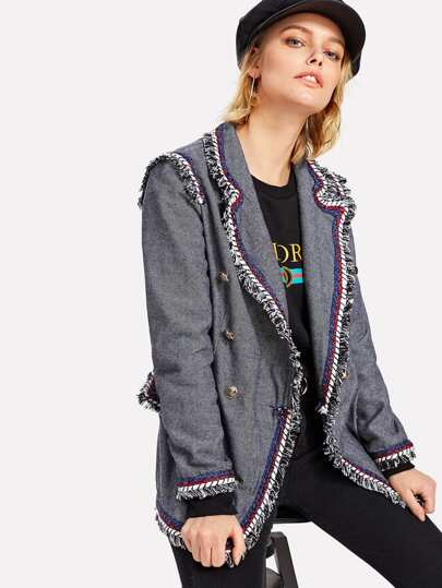 Frayed Tape Trim Double Breasted Blazer