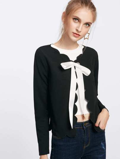 Grommet Ribbon Tie Detail Scallop Coat