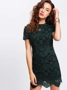 Mock Neck Lace Overlay Dress