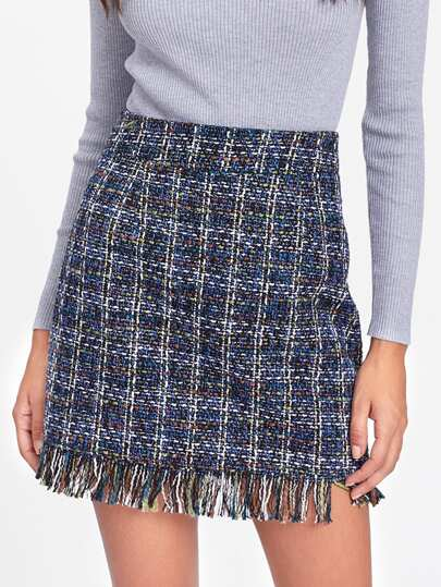Fringe Hem Side Zip Skirt