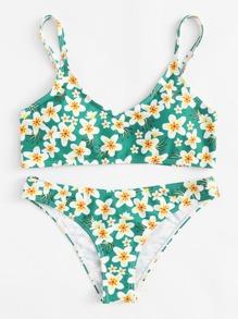 Calico Print Cami Bikini Set