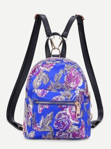 Pocket Front Calico Pattern Backpack