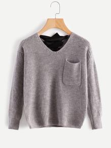 V Neckline Lace Up Back Texture Knit Sweater