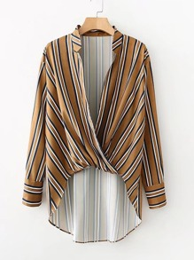 Surplice Neckline Striped High Low Blouse