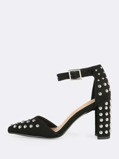 Studded Point Toe Heels BLACK