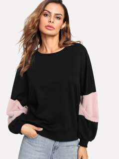 Fuzzy Fabric Detail Exaggerate Sleeve Pullover