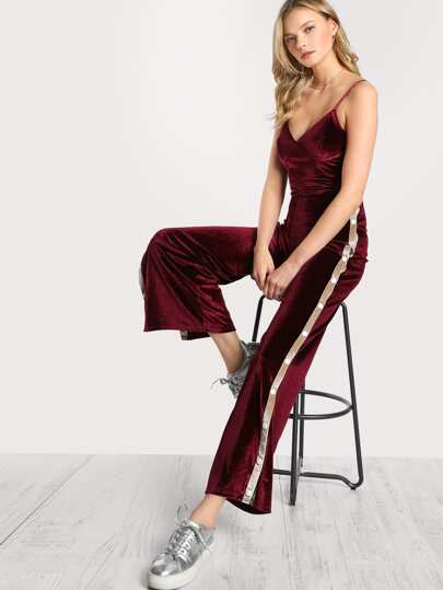 Velour Snap Button Track Suit WINE CREAM