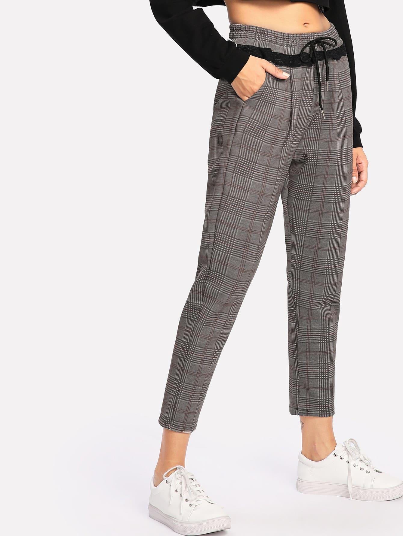 Image of Contrast Lace Glen Plaid Pants