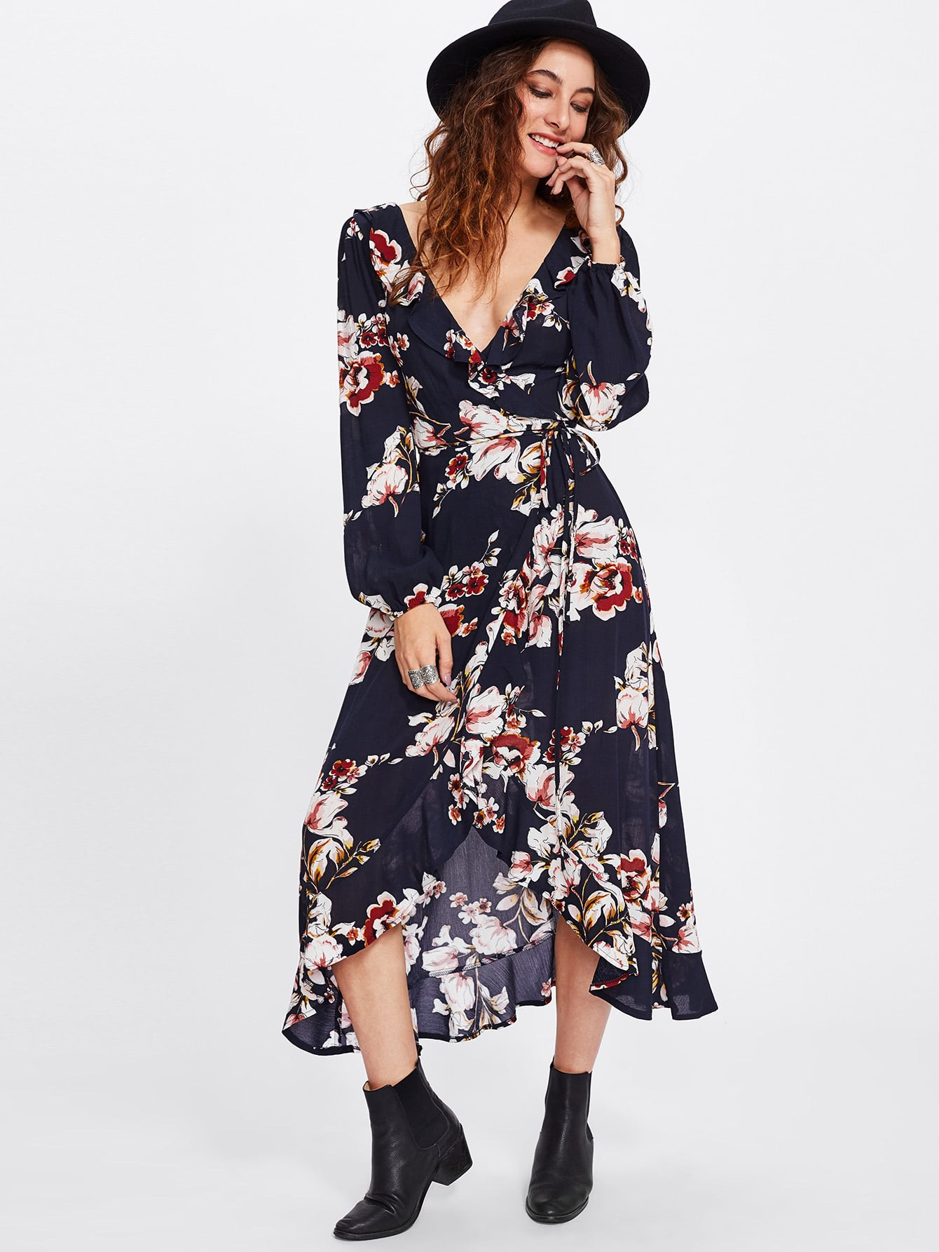 Flower Print Wrap And Tie Detail Dress lisa corti короткое платье