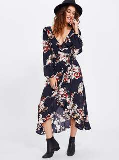 Flower Print Wrap And Tie Detail Dress
