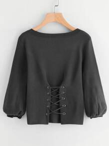 Corset Lace Up Lantern Sleeve Sweater