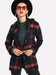 Faux Fur Ball Detail Tweed Hooded Coat