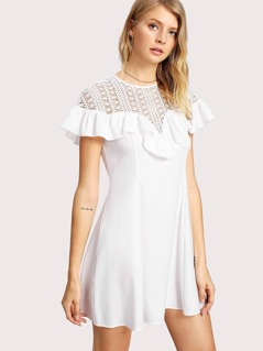 Guipure Lace Yoke Ruffle Detail Dress