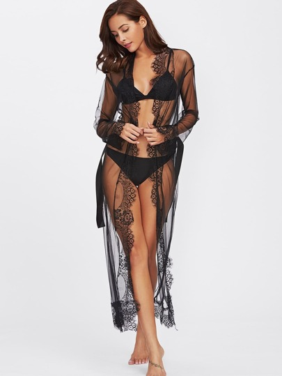 Eyelash Lace Trim Mesh Robe With Belt