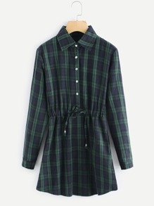 Checked Drawstring Waist Shirt Dress