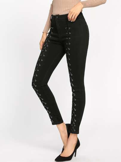 Grommet Lace Up Front Jeans