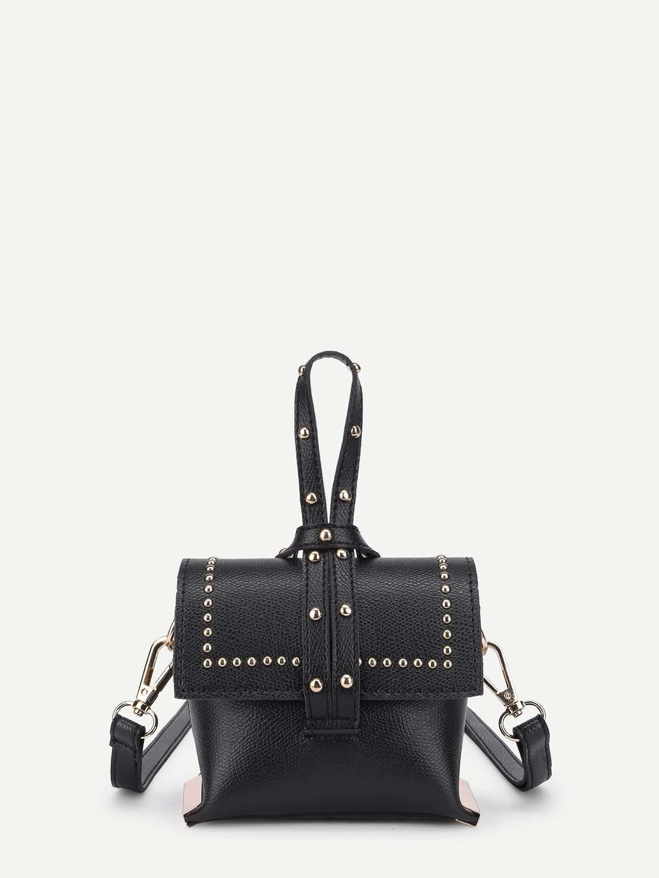Studded Detail PU Shoulder Bag With Handle все цены