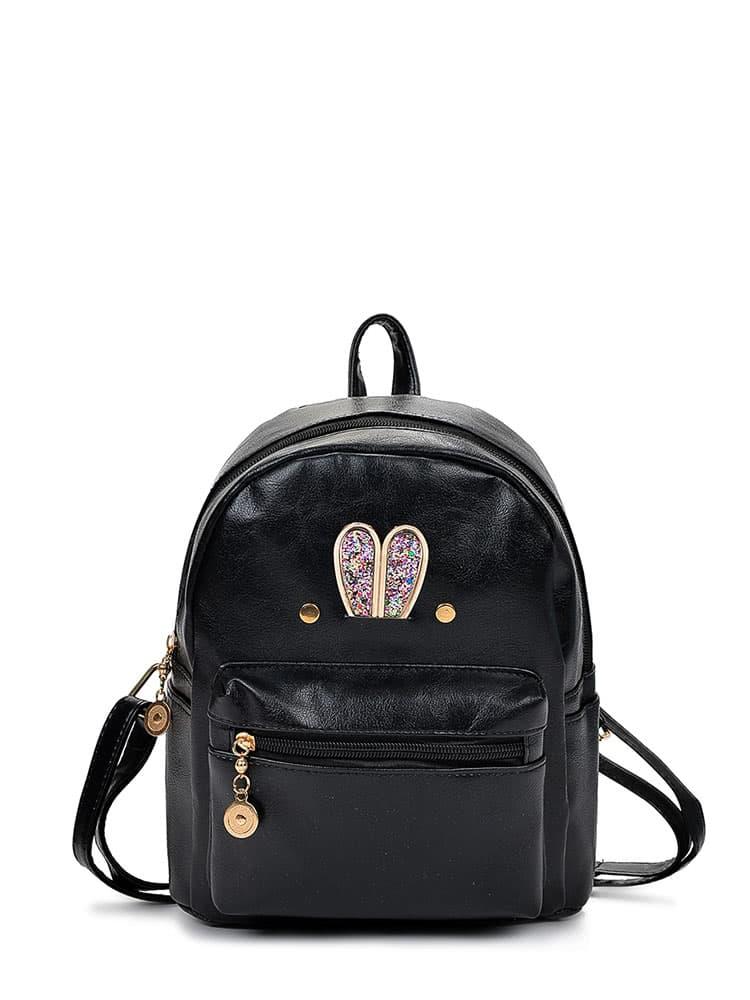 Glitter Ear Detail Zipper Front PU Backpack цена 2017