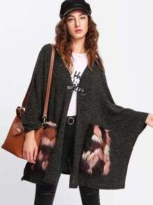 Faux Fur Pocket Patched Poncho Coat