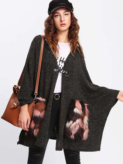 Faux Fur Pocket Patched Poncho Coat