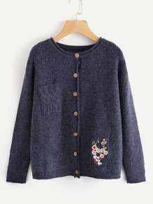 Embroidered Detail Button Up Cardigan