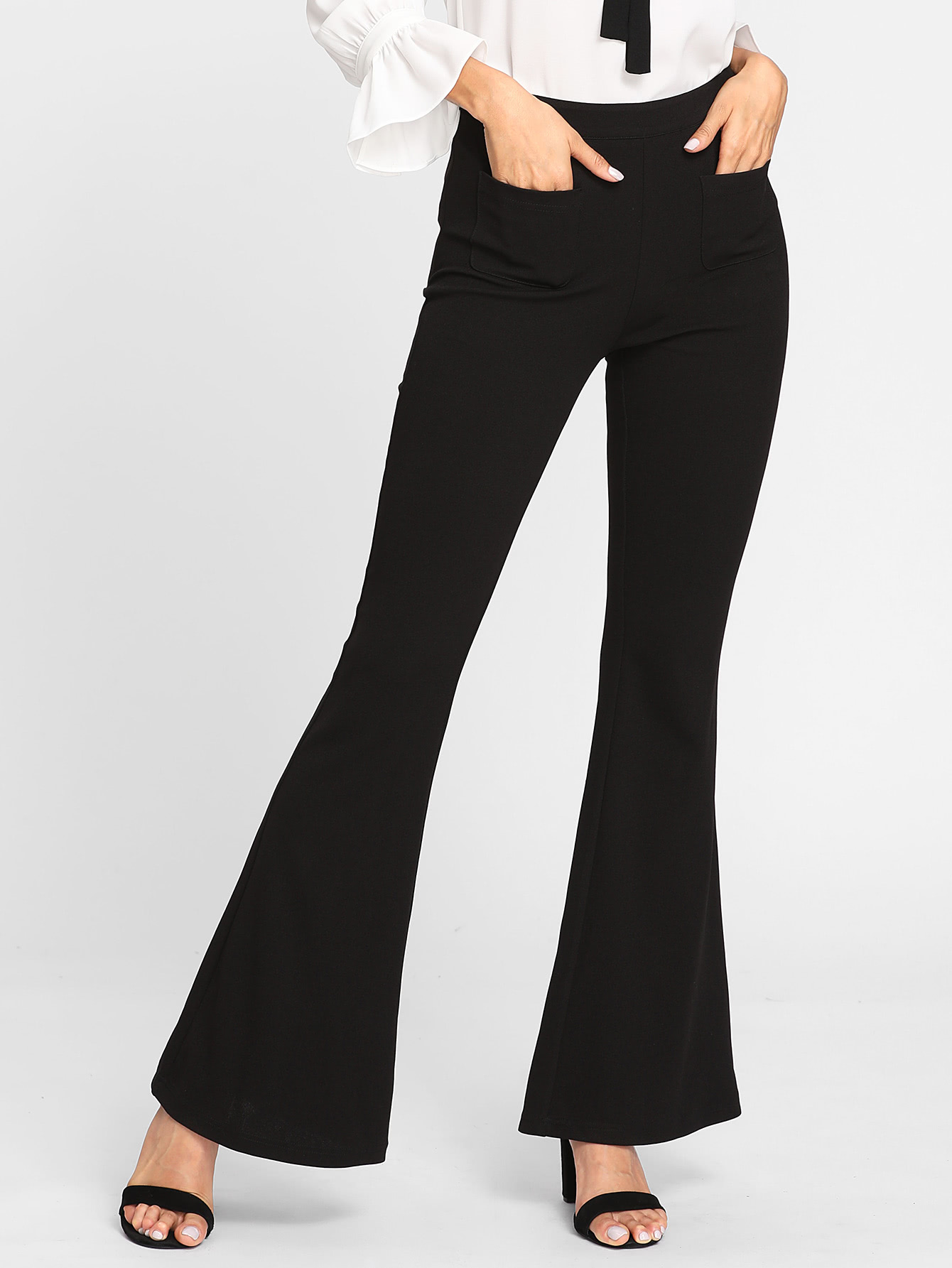 Patch Pocket Front Flared Pants zip back flared pants