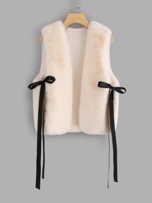 Faux Fur Bow Tie Side Vest