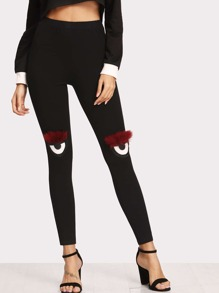 Faux Fur Applique Detail Leggings