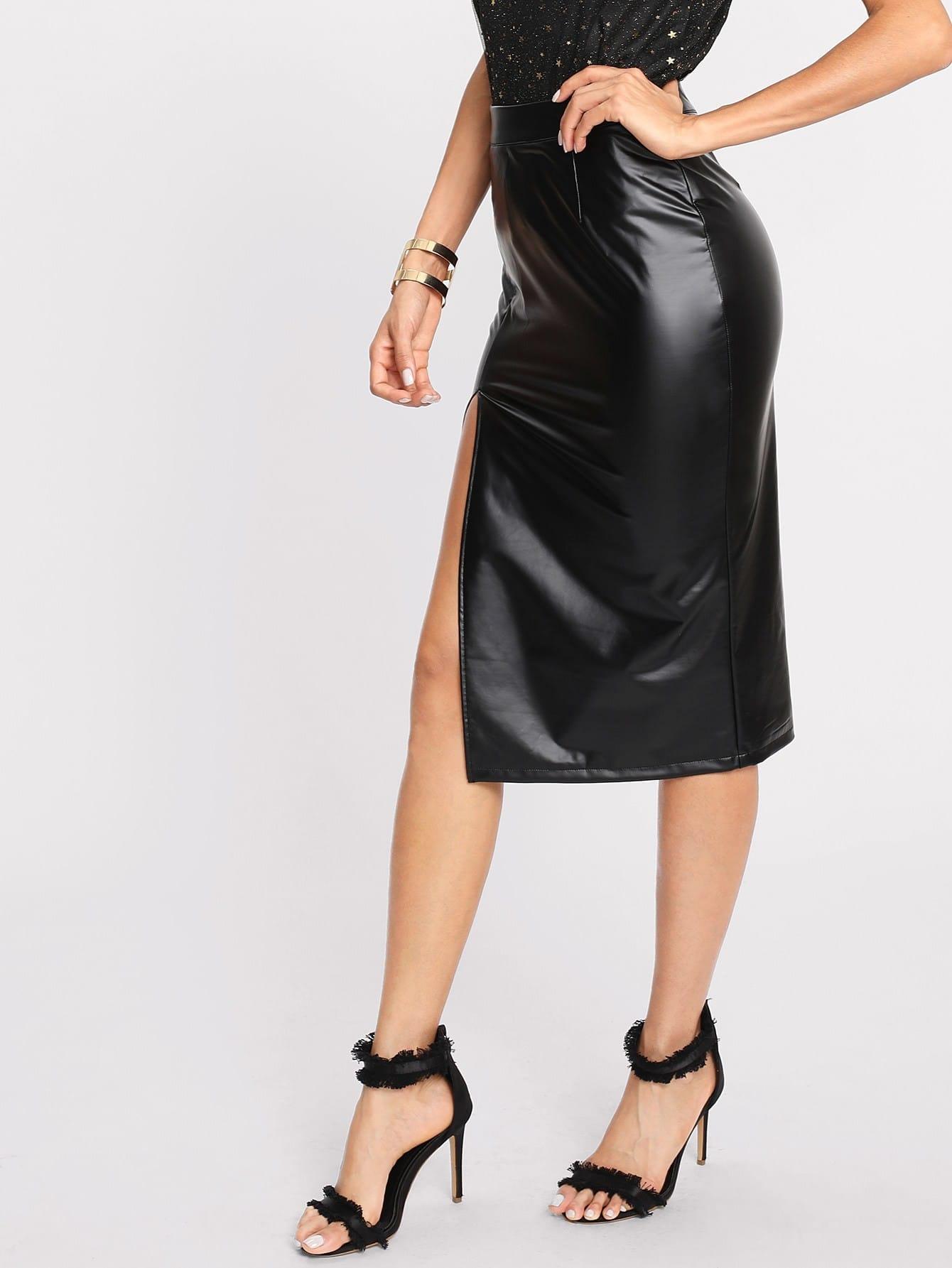 Split Front Faux Leather Skirt tribal print split front skirt