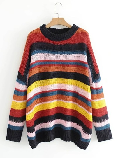 Wide Stitch Block Striped Sweater