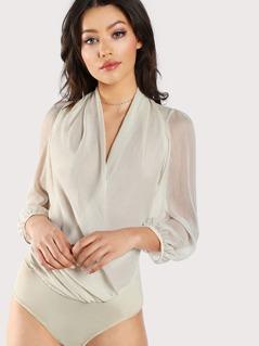 Plunging Neckline Long Sleeve Sheer Bodysuit IVORY