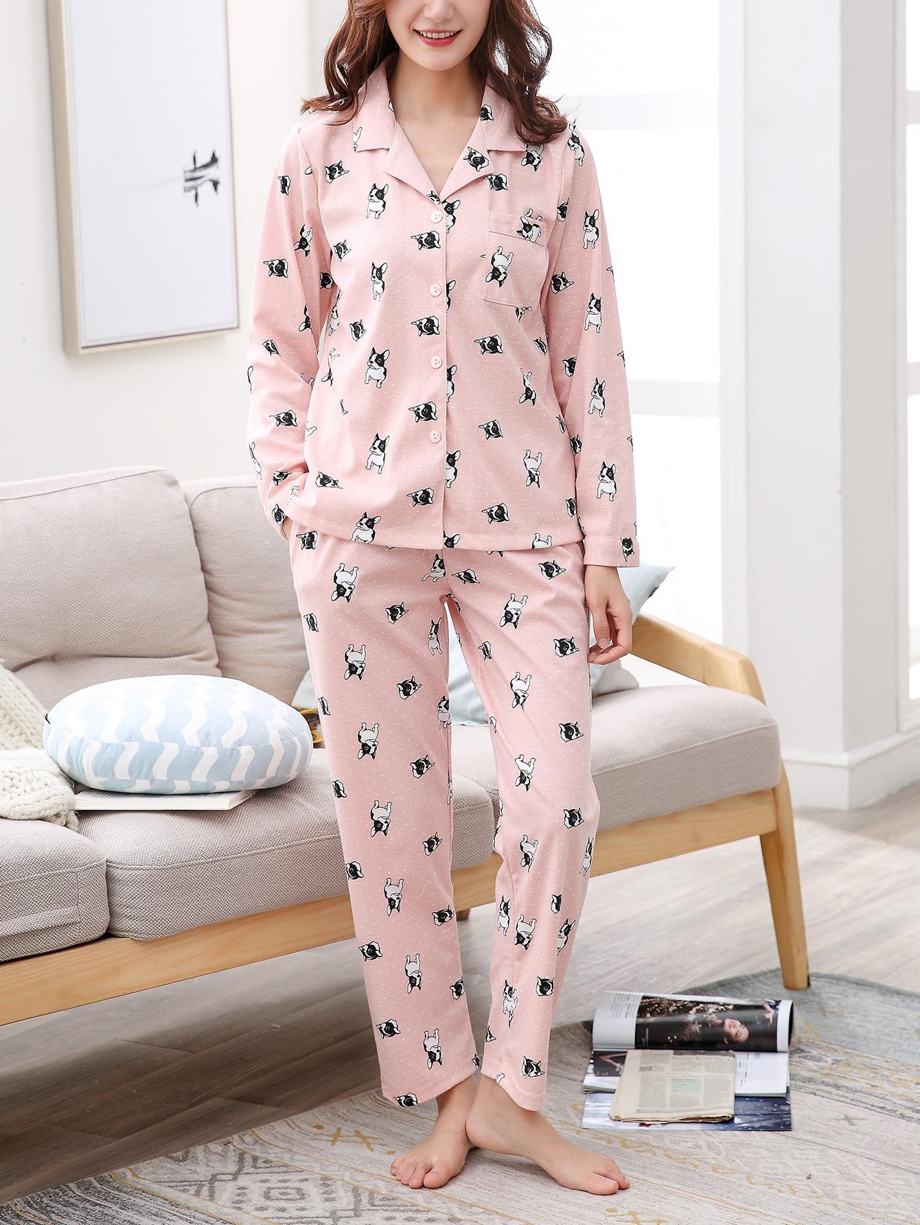 Dog Print Spot Shirt & Pants Pj Set dog print tee and floral pants pj set