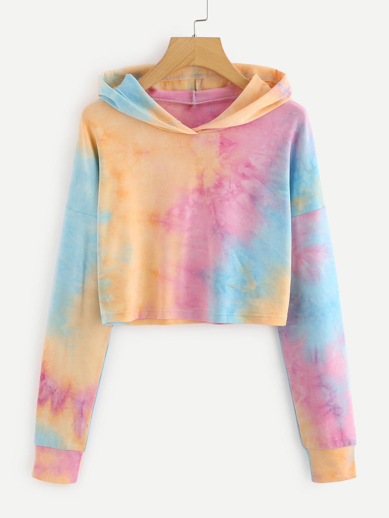Купить Повседневный Галстуковый краситель на кулиске Пуловеры Многоцветный Свитшоты, null, SheIn