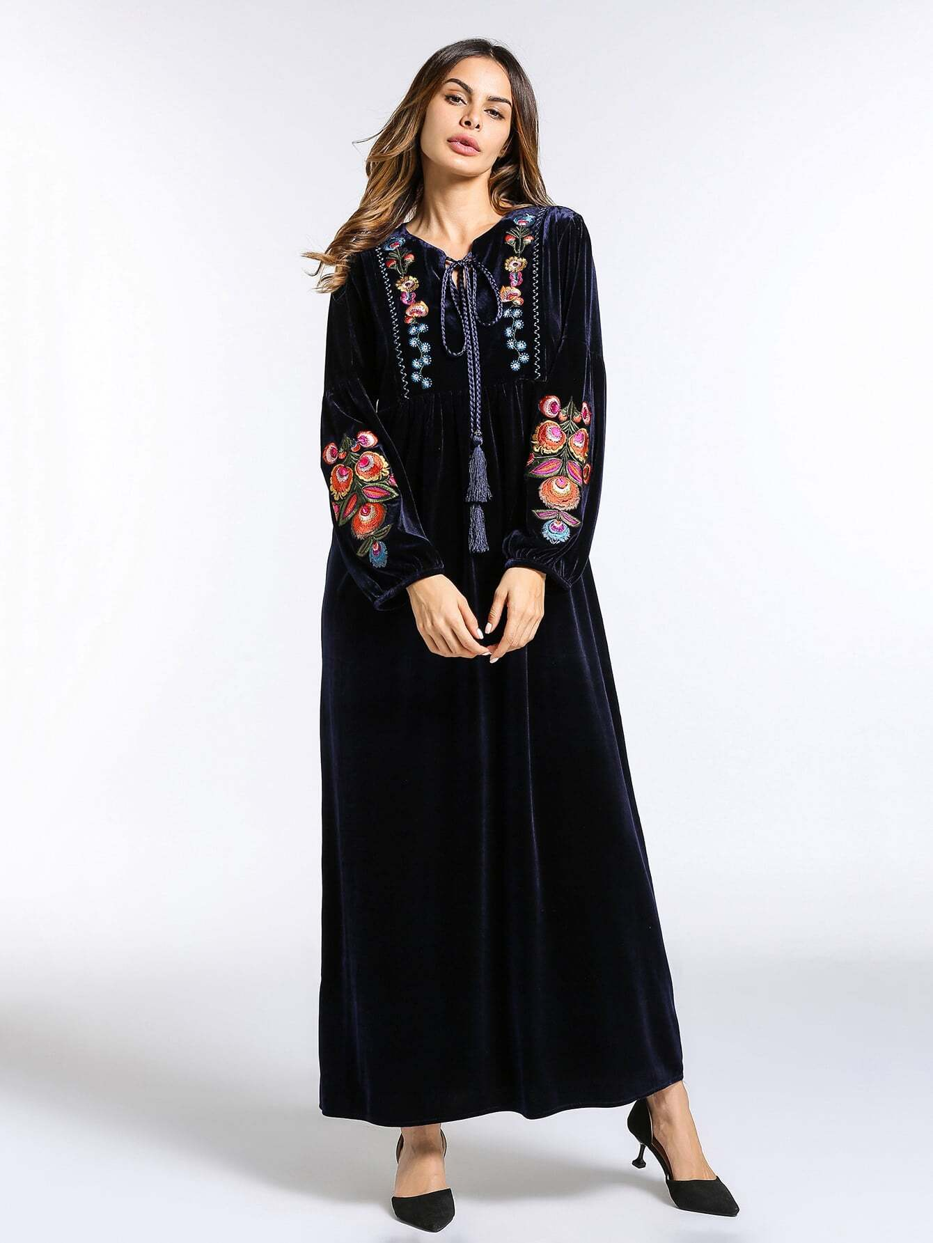 Tassel Tie Neck Embroidery Velvet Dress